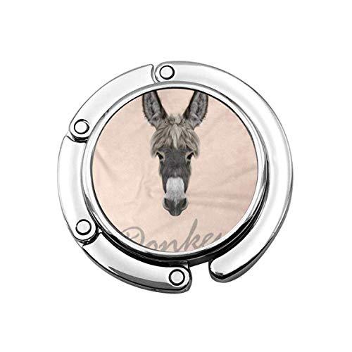 Brown Animal Farm Asino Ritratto Di Grigio Su Rosa Grigio Pieghevole Borsa Gancio Borsa Gancio Appendiabiti Per Tavolo Auto