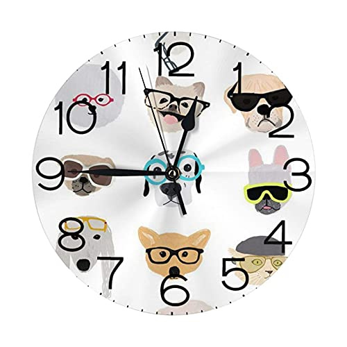 GOSMAO Round Wall Clock,Dogs In Glasses,Hanging Clock Desk Clock Decorative Clock For Home School Office