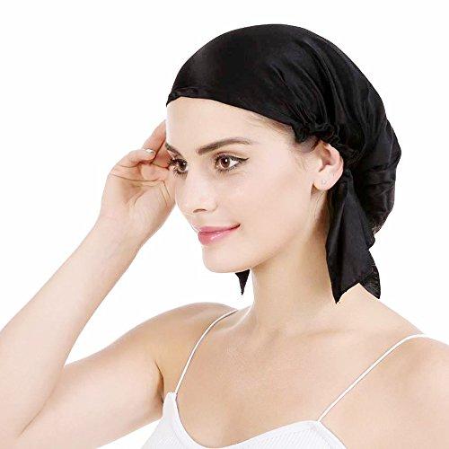 Emmet Emmet 100% Seide Schlafmütze Haarschönheit Nachtmütze Damen für Haarverlust Atmungsaktive Kappe,Schwarz,XL
