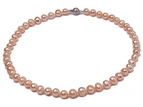 Jyx - Collana con perle d'acqua dolce rotonde, lunghezza 45 cm, filo singolo e Lega, colore: rosa, cod. FNS341-1
