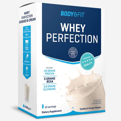 Body and Fit Whey Perfection Protein Powder, Muscle Building, with Isolate & Hydrolysate, Cookies & Cream Milkshake, 12 Servings, 336 g