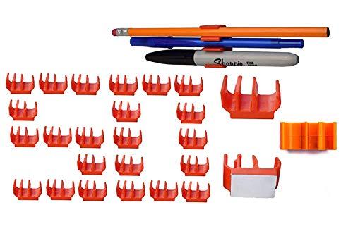 (50 pk) Medium Duty Adhesive Pencil Holder Pen and Marker Clip - Works Well on Hard hat, Tool Box, Desk, Locker, Fridge, memo pad, Side of Monitor or Office Phone, Easel, Studio, etc.
