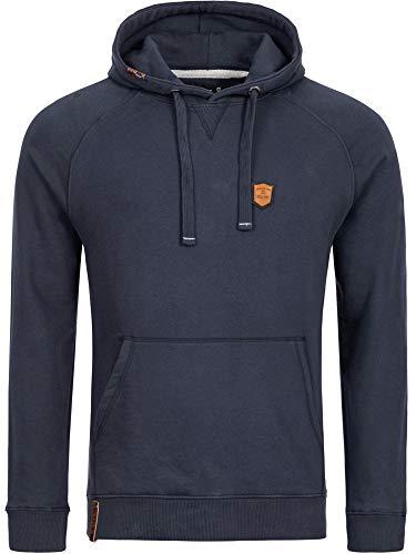 Indicode Herren Litcham Sweatshirt mit Kapuze | Warmer Hoodie sportlicher Kapuzenpullover modernes Kapuzensweatshirt Herrenpullover Hooded Sweater Pullover für Männer Navy L