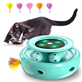 HOFIT Juguete para Gatos Interactivo, Pistas de Emboscada y Bolas 2 en 1 Juguete Robótico para Gatos con 4 Plumas Intercambiables, Juguetes eléctricos de Bolas para Gatos para Gatos (verdor)