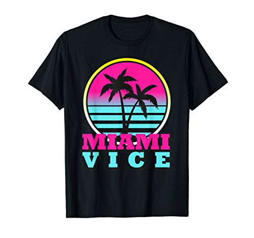 Miami Vice Neon Pink and Blue Graphic Tee for Men, Women, S to 3Xl