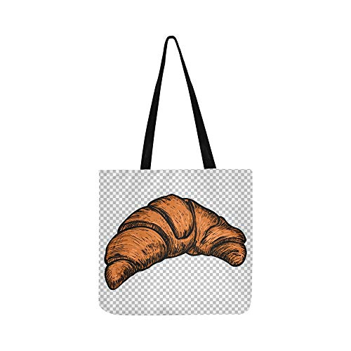 Canvas Bags For Girls Delicious Tasty Appetizing Croissants Cloth Produce Bags Produce Bags Grocery Reusable For Shopping Groceries Books Best Reusable Grocery Bags