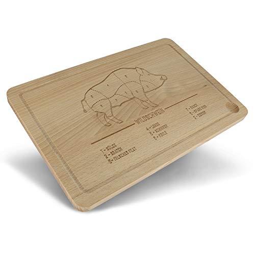 Tabla de cortar para cazadores con surco de madera • Tabla de cocina sostenible para cazadores • Tabla de madera con grabado • Regalos de cazadores • Regalo para jovenes • Tabla de barbacoa