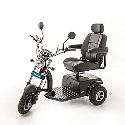 Trident 3 Wheel Electric - Hot Rod, Old American Style Mobility Scooter for Adults - Class 3 Road Legal Battery Mobility Scooter with Bluetooth Speaker - 23 st. Weight Capacity Free Engineer Delivery