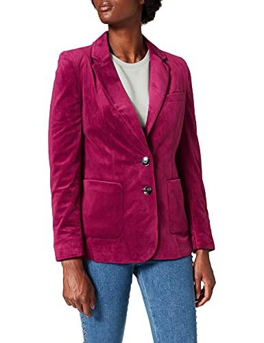 Marca Amazon - find. Velvet Blazer - Chaqueta de traje Mujer, Rosa (Magenta), 42, Label: L