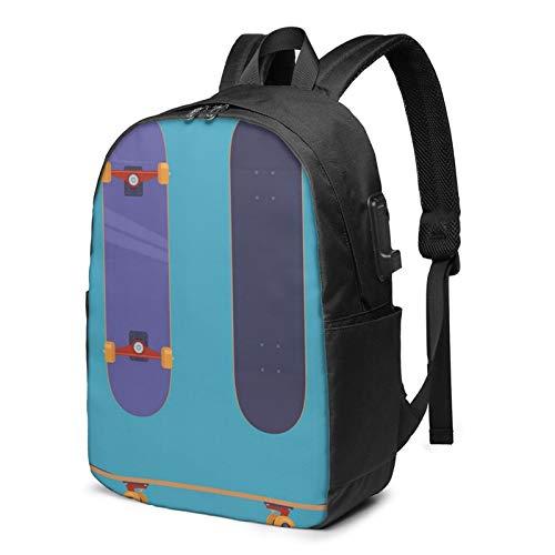 Laptop Rucksack Business Rucksack für 17 Zoll Laptop, Kulturaktivität Flaches Skateboard Schulrucksack Mit USB Port für Arbeit Wandern Reisen Camping, für Herren Damen