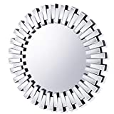 Chende Round Mirror Wall Deocr, 32'' Large Decorative Mirror with Beveled Glass Frame, Modern Accent Mirror for Living Room, Foyer, Bedroom