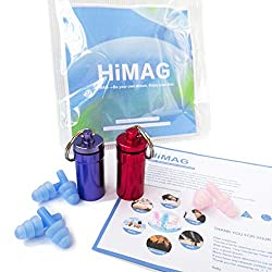 HiMAG Reusable Silicone Flanged Ear Plugs -3 Pairs with 2 Portable Cases Earplugs for Sleeping Snoring Swimming Travel Concerts and Studying