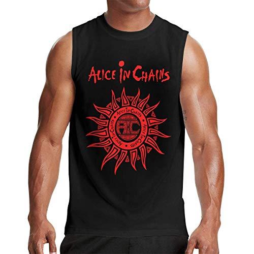 Alice in Chains Logo Men's Music Band Basic Sleeveless T-Shirt Cotton Muscle Shirt Workout T Shirts Black,T-Shirts & Hemden(Medium)