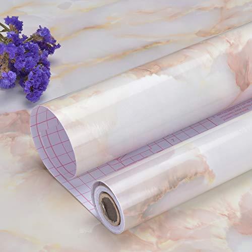 Art3d papel de mármol mate de 45 cm x 200 cm para encimeras de papel de contacto, autoadhesiva, para estantes, papel pintado decorativo de contacto, resistente al agua, pelar y pegar