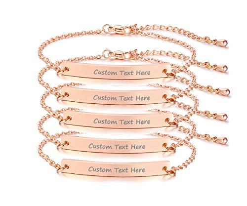 Personalized Name Bracelet Set for 2 Customize Skinny Thin Bar Nameplate Monogram Friendship Bracelets,Rose Gold Plated,Bridesmaid Graduation Gift