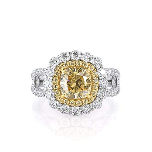 KEYZAR Engagement Rings for Women, 1.3 ct Fancy Canary Yellow Cushion Cut Moissanite, Double Halo, Diamonds Pave, 14k or 18k Real White Gold Wedding Promise Ring