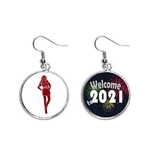 Rojo Moda Belleza Mujer Art Deco Regalo Moda Oído Colgantes Pendientes Joyería 2021 Bendición