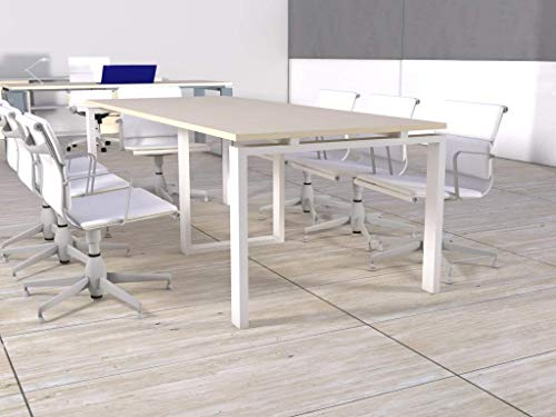 OFICIT Mesa de reunión de Marco Abierto de 240cm x 100cm en Color del Tablero Maple, Color Estructura Blanco, Entrega de 3 a 5 días hábiles.