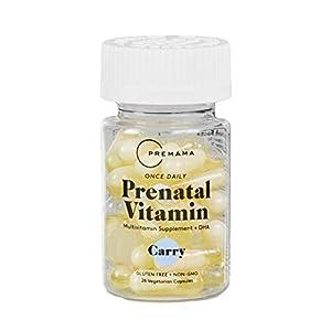 Premama Prenatal Vegan Vitamin Capsules | DHA Iron Folate Fertility Support Vitamins | Non GMO, Gluten Free, Vegetarian Womens Daily Multivitamin Supplement, Choline for Brain Development | 28 Count