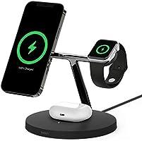 Belkin ワイヤレス 充電器 MagSafe認証品 iPhone 13 / 12 / mini/Pro/Pro Max/Apple Watch/AirPods 対応 最大15W ブラック WIZ009dqBK-A