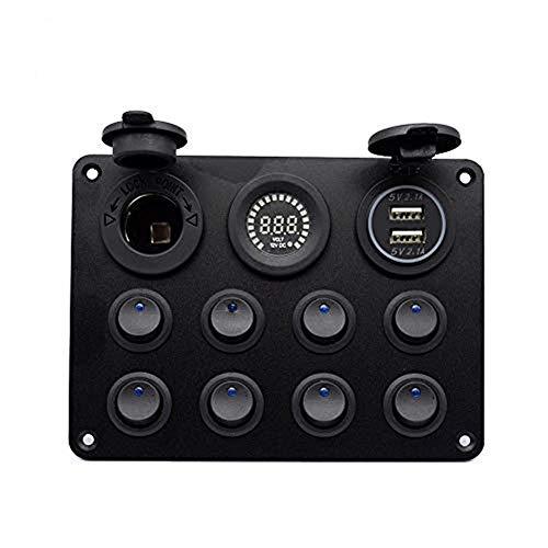 Voltímetro Rupse (24 V) con 8 tomas de corriente, panel conmutador y cargador USB doble. Para barcos, autocaravanas, caravanas, camiones y otros vehículos
