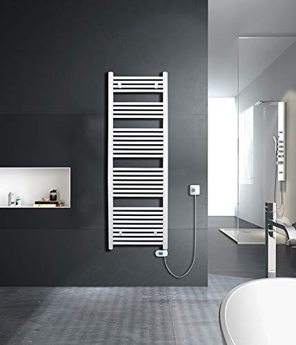SixBros. elektrischer Badheizkörper, Handtuchwärmer mit regulierbarer Heizpatrone, Elektrobadheizkörper, Thermostat, 500W, 600 x 1000 mm