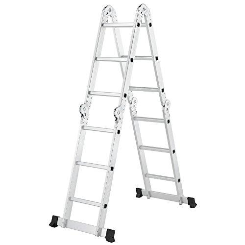 Juskys Aluminium Multifunktionsleiter 3x4 Stufen - 3,6 m Gesamtlänge - Gelenkleiter - Klappleiter – Stehleiter –– Aluleiter klappbar - 4-teilig