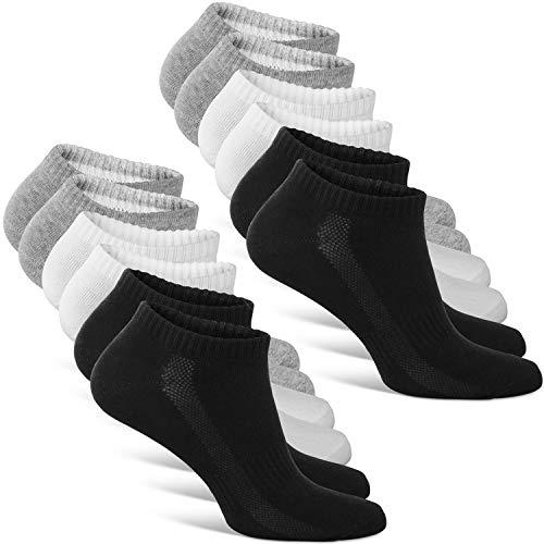 Classics ® Herren & Damen Sneaker Socken (6x Paar) Lange Haltbarkeit Dank Bester Qualität (2x Schwarz + 2x Weiß + 2x Grau, 35 - 38)