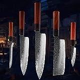 NBKLSD Cuchillo de Chef Compuesto de Tres Capas Acero Inoxidable de Acero Inoxidable Forjado Cuchillo de Cocina japonés Cuchillo de Hueso Cuchillo de cocción (Color : 5PCS A)