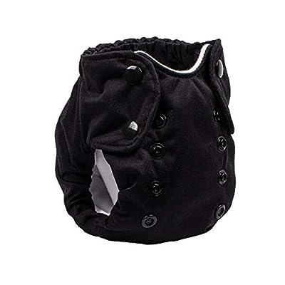 No Prep Cloth Diaper for Newborns – Smart Bottoms Born Smart 2.0 – Washable, Reusable – Natural Fiber Interior (Basic Black)