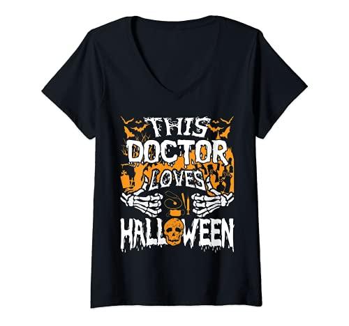Mujer Este mdico ama Halloween Huesos Cirujano Divertido Mdico Camiseta Cuello V