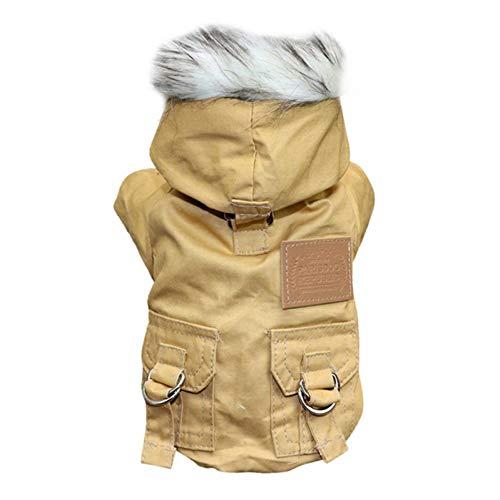 EFINNY Hundejacken für Welpen,Winddichte/wasserdichte Mäntel für kaltes Wetter Langlebige,leichte,Dicke Plüschkleidung Outfits Outwear mit flauschigem Hut für kleine/mittlere Hunde Haustiere