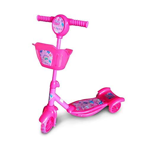 Patinete Infantil 3 Rodas com Cesta Rosa com Luzes e Som