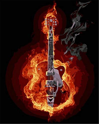 N\A Kits De Pintura por Números para Adultos - Kits De Regalo De Pintura Al Óleo DIY para Adultos Principiantes - Llama, Guitarra, Instrumento Musical