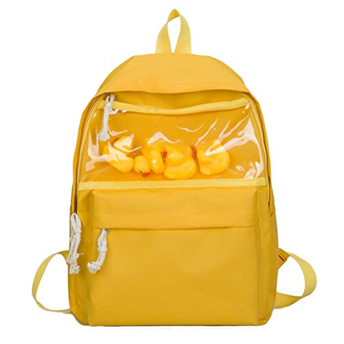 Meteorax Canvas Backpack With Duck Toy Transparent Cute Duck Ornament Bag School Bag Solid color Student