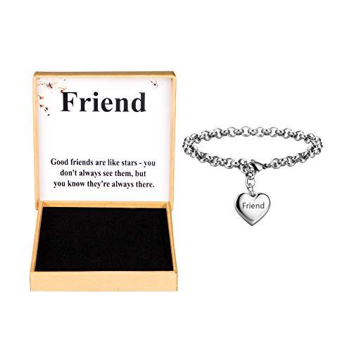SANNYRA Best Friend Bracelets Stainless Steel Heart Charm Bracelet for Girl Birthday Gifts for Her