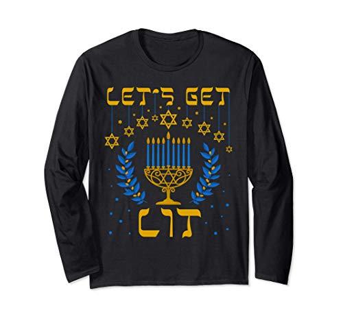 Let's Get Lit Hanukkah Shirt Jew Menorah Jewish Chanukkah Long Sleeve T-Shirt