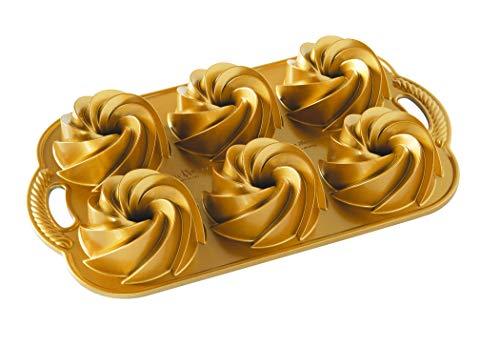 Nordic Ware Backform Heritage Bundtlette Aluminium Gold, 35,6cm x 20,3cm, NW 88077