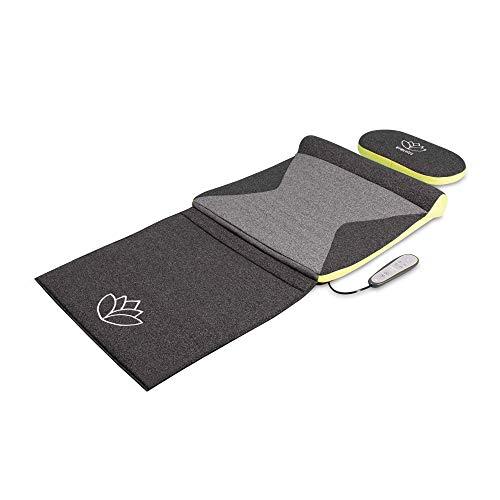 HoMedics Stretch Stretchingmatte XS inspiriert durch Yoga - Fernbedienung, einstellbare Intensität, vorprogrammierte Yoga/Stretchmatte für Rücken, Schultern, Hüften, faltbar mit Stützkissen - Grau