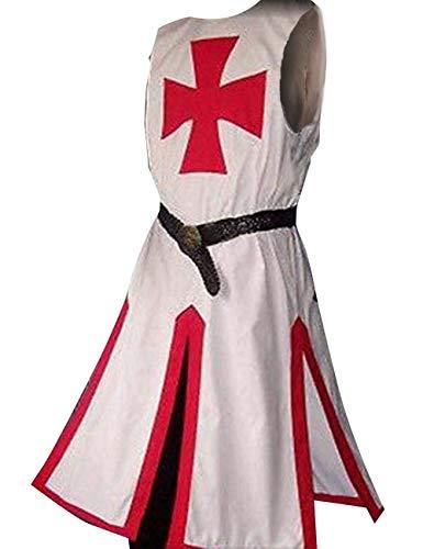 Fueri Disfraz medieval de caballero templario adulto guerrero tnica imperio traje cosplay capa abrigo Halloween LARP, rojo y blanco, M