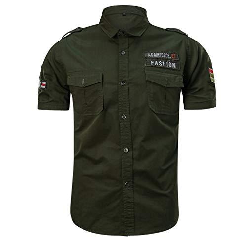 FRAUIT Mannen mode militaire shirts pure kleur tas korte mouwen losse T-shirt tops herenoverhemden mode omlegkraag korte mouwen casual lente herfst overhemd top blouse kleding 100% katoen