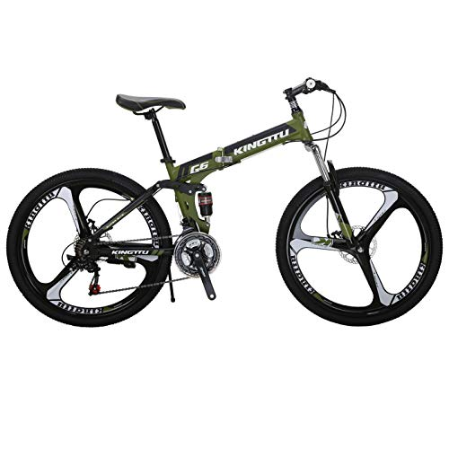 Kingttu KTG6 Mountain Bike 26 Inches 3 Spoke Wheels Dual Suspension Folding Bike 21 Speed MTB