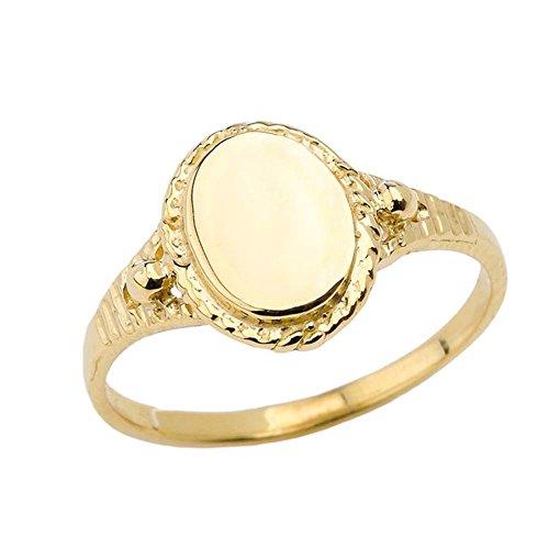 Enchanting 10k Yellow Gold Milgrain Engravable Oval Signet Ring (Size 8)
