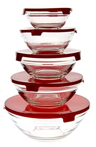 Set Di 5 Ciotole Di Vetro Trasparente Con Coperchio Di Plastica, Contenitori Per Alimenti, 5 Grandezze Diverse