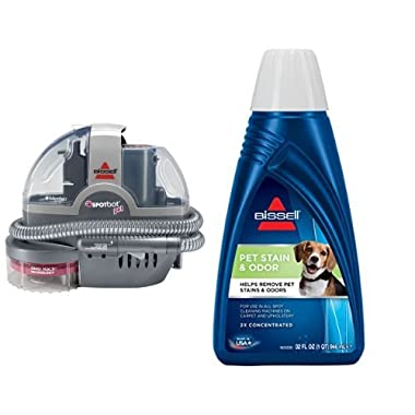 Pet Stain Remover Bundle - SpotBot Pet Spot and Stain Cleaner + Bissell 2x Pet Stain and Odor Portable Machine Formula, 32 oz