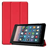 Smart Cover for Amazon Kindle All New Fire 7 7th / 9th Generation,Ultra Slim Folio Stand Leather Case Cover with Auto Sleep/Wake Up Function for Kindle Fire HD7 7' (2017/2019 Release) (Red)