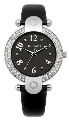 Morgan M1156B - Reloj analógico de Cuarzo para Mujer con Correa de Piel, Color Negro