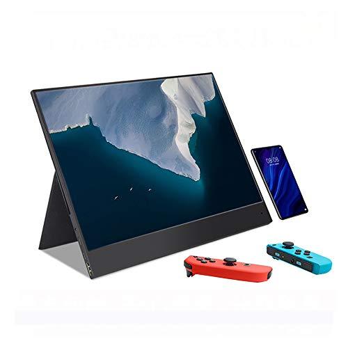 HLKYB 4K USB C tragbarer Monitor, 15,6-Zoll-1080p HDR Touchscreen mit Dual-Typ-C/Mini-HDMI-Anschluss für Laptop PC MAC Raspberry Pi 4 Phone Xbox PS4-Schalter