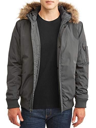 Swiss Tech Performance Gear Men's Faux Fur Hooded Bomber Parka Jacket (Greystone) (Small (S, 34-36))
