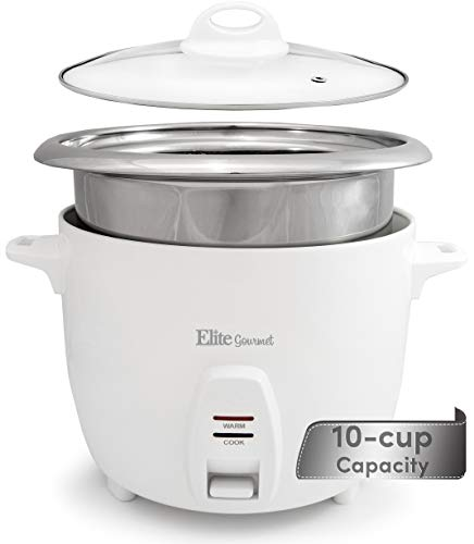 Elite Gourmet Electric Rice Cooker with Stainless Steel Inner Pot Makes Soups, Stews, Grains, Cereals, Keep Warm Feature, ERC-2010, White